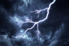 Lightning strike on the sky. Stock Photos