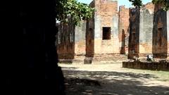 Motion scene behide wall show historical park Ayutthaya, Thailand Stock Footage