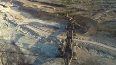 Flying over the iron ore quarry Stock Footage