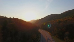 4k cinematic epic aerial of mountains in North Carolina in autumn Stock Footage