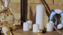 Close-up of a candle flame. Beautiful white candles burn on a festive background Arkistovideo