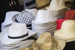 Close up on  hats of felt for sale at a flea market Stock Photos