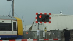 Urban Train Level Crossing With Flash Red Signal Stock Footage