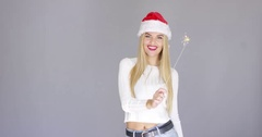 Pretty blond girl enjoy chrismas with sparkler Stock Footage
