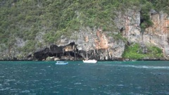 Viking cave shot from boat Stock Footage