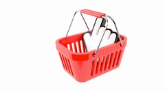 Swinging shopping basket with cursor Stock Footage