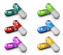 Illustration of minerals. Gloss drops pill capsules and vitamin Stock Illustration
