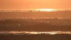 Golden Hour Sunset Waves Rack Focus Stock Footage