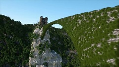 Old fantsay castle on a high cliff, rock. Aerial view. fabulous landscape Stock Footage