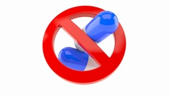 Forbidden symbol with pills Stock Footage