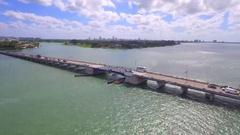 Broad Causeway Miami Beach aerial tour Stock Footage