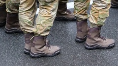 Feet of soldiers. Servicemen at the military parade Stock Footage