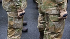 Soldiers in military uniform. Servicemen at the military parade Stock Footage