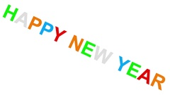 Happy new year - 30fps loop - randomized playful colorful letters 2d Stock Footage