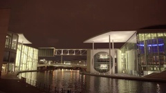Berlin Spree River Pan at Night 4K Stock Footage