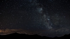 Stars moving in night sky over mountains time lapse. Milky way astronomy Stock Footage