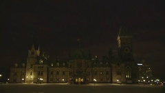 Shot of an old Canadian mansion in the dark. Stock Footage