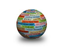 Happy New Year on  different languages 3d ball Stock Photos