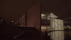 Berlin Spree River Night Pan 4K Stock Footage