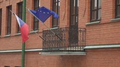 European Union EU and Czech flags Stock Footage