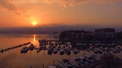 Belmont Bay Drone Shot of Sunrise Stock Footage