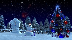 Chrismas story, -  Snowman accelerates time. Stock Footage
