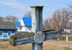 Old wooden grave cross in David-town Stock Photos