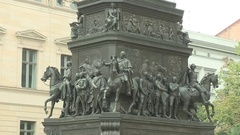 FREDERICK the Great Statue MWS TiltU Relief to Statue Stock Footage