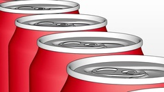 Red aluminum cans on industrial conveyor. Soda or beer production line Stock Footage