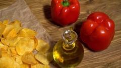 Paprika potato chips dolly Stock Footage