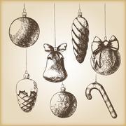 Brown vintage sketch - Christmas hand drawn ornaments Stock Illustration