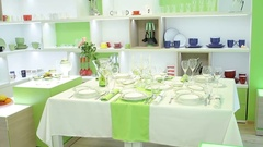 Beauty table with dishes, kitchen, shop Stock Footage