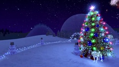 Christmas story, flying around the Christmas tree. Stock Footage