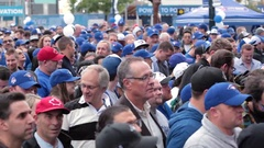 Packed crowd toronto blue jays rogers centre close up faces Stock Footage