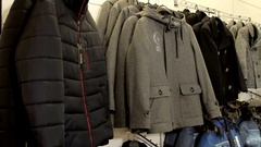 Outerwear in the shop Stock Footage