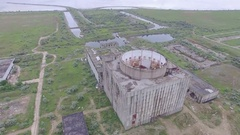 Destroyed Nuclear power plant in Shelkino aerial video Stock Footage