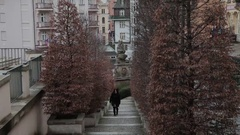 Karlovy Vary Alley staircase. Stock Footage