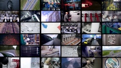 Multichannel display of industrial, medical, transportation footages Stock Footage