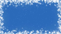 Christmas Card Frame with Snowflakes on Blue Background. Stock Footage