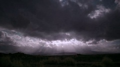 Full moon God Beams light rays clouds dramatic night landscape Iceland Stock Footage