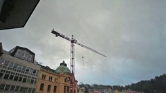 Karlovy Vary Construction crane. Stock Footage