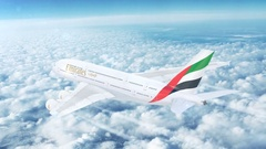 Emirates (UAE) Airbus A380 passenger aircraft flying high above the skies. Stock Footage