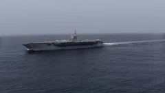 Aircraft carrier in the sea. Stock Footage