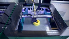 3D plastic printer, 3D printing. Three dimensional printer during work inmodern Stock Footage