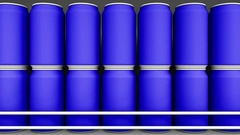 Blue cans at grocery store. Soda or beer on supermarket shelf. Modern recycling Stock Footage
