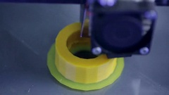 3D Printer. Printing with Plastic Wire Filament on 3D printer. Close up Stock Footage