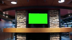 Display tv with green screen inside mcdonalds fast food restaurant Stock Footage
