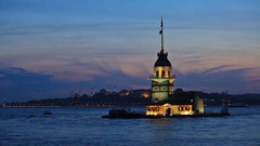 Maiden's Tower in istanbul, Turkey Stock Footage