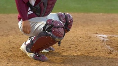 A catcher makes a play at a baseball game. Stock Footage