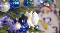 Christmas tree decorated with bright blue garlands and toys.Christmas tree Stock Footage